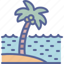 beach, coconut, sea, tree icon
