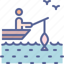 beach, fishing, holiday, vacation icon