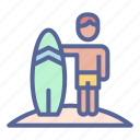 beach, man, surfing, vacation icon