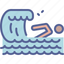 beach, swim, swimming, wave icon