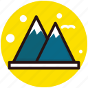 hill station, hills, hilly area, mountains, snowy mountains icon