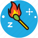 ablaze, flaming fire, ignition, matchbox, matchstick icon