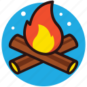 bonfire, burning wood, fire, fireplace, wood fire icon