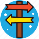 direction arrows, finger post, guidepost, roadside sign, signpost icon