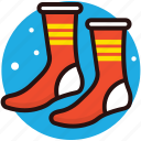 colorful socks, feet protection, footwear, socks, under shoes socks icon