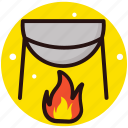 campfire cooking, conventional cooking, fireplace, outdoor cooking, outdoor kitchen icon