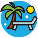 beach, deck chair, sun tanning, sunbed icon
