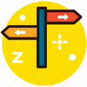 direction arrows, guidepost, road labels, roadside sign, signpost icon