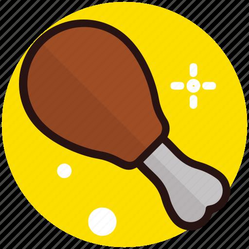 drumstick, fried chicken, fried leg, leg piece, snack icon