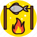 camp food, fish barbecue, grilled food, outdoor cooking, seafood icon