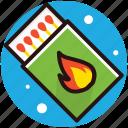 ablaze, flaming fire, ignition, matchbox, matchsticks icon