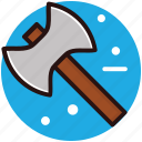 axe tool, cutting timber tool, double bit axe, hatchet, weapon icon