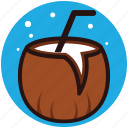 coconut milk, coconut water, fresh coconut, refreshing drink, tropical drink icon