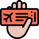 airplane, beach, camping, hand, ticket, tour, travel icon