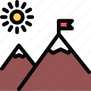 beach, camping, holidays, mountains, tour, travel icon