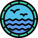beach, camping, holidays, porthole, ship, tour, travel icon
