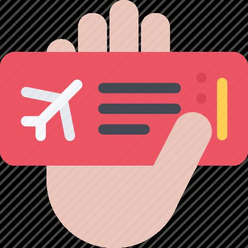 airplane, beach, hand, resort, ticket, travel, vacation icon