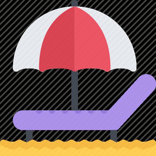 beach, chaise, longue, resort, travel, vacation icon