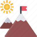 beach, camping, mountains, resort, travel, vacation icon