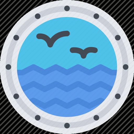 beach, camping, porthole, resort, ship, travel, vacation icon