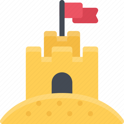 beach, camping, castle, resort, sand, travel, vacation icon