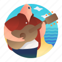 singing, guitar, island music, music, sing, beach