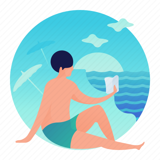 Beach, book, man, reading icon - Download on Iconfinder