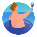 floating, man, beach, swimming