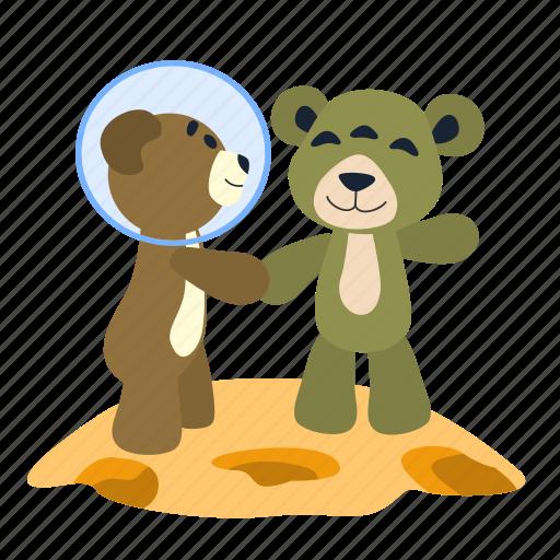 alien, bear, fun, greeting, meeting, spaceman, teddy icon