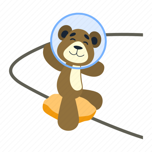 asteroid, bear, explorer, orbit, rock, spaceman, teddy icon
