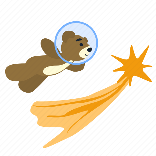 bear, comet, fly, flying, space, spaceman, teddy icon