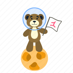 astronaut, bear, first, flag, space, spaceman, teddy icon