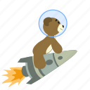 bear, outer, rocket, space, spaceman, spaceship, teddy icon