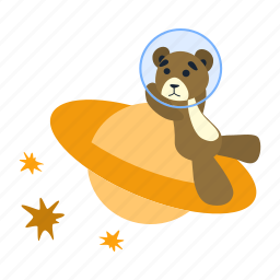 bear, planet, saturn, sit, spaceman, stars, teddy icon