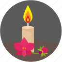 fire, flower, orchid, rest, round, spa icon