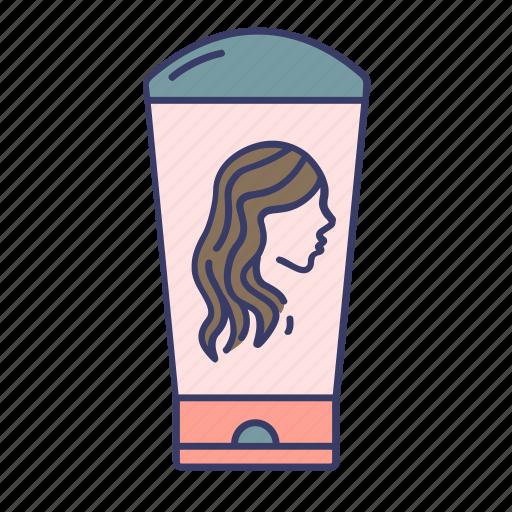 braun, conditioner, curly, girl, hair, shampoo icon