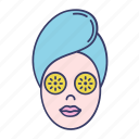 cosmetology, cucumber, face, mask, spa, turban icon