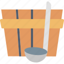 bucket, ladle, bath, house, spa, washing, water