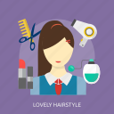beauty, fashion, haircut, hairdresser, hairstyle, lovely, salon icon