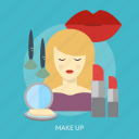 beauty, brush, cosmetic, fashion, lipstick, makeup, powder icon