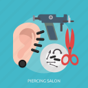 beauty, ear, fashion, metal, piercing, salon, spike icon