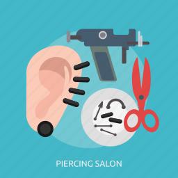 beauty, ear, fashion, metal, piercing, salon, spike icon
