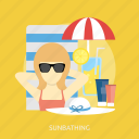beauty, fashion, summer, sunbathing, tropical, umberella, vacation icon