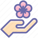 floral, flower, gesture, hand, palm, pick, spa icon