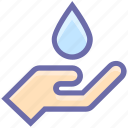 drop, drop on hand, ecology, hand, lotion, spa, water, water drop icon