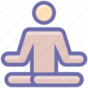 exercise, fitness, levitate, lotus, man, meditation, people, yoga icon