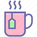 coffee, cup, drink, hot, hot coffee, mug, tea, tea cup, tea pack icon