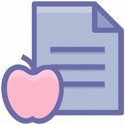 apple, diet, document, education, file, food, learn, learning, list, paper, test icon