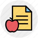 apple, diet, document, food, learn, paper, test icon
