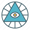 circle, eye, god, providence, pyramid, triangle icon